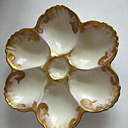 Vintage Hand Decorated French Porcelain Oyster Plate