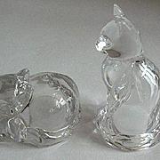 Glass Cats Salt & Pepper Shakers