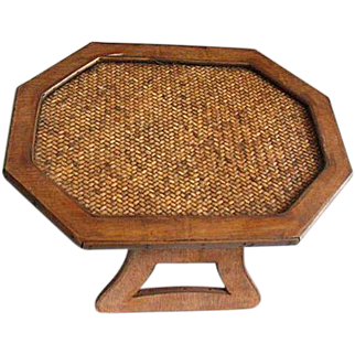 Vintage Woven Wicker Rattan & Wood Table, Bed Or Couch Tray