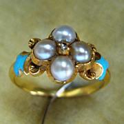 A Victorian 18ct Gold, Seed Pearl & Diamond Ring. Circa 1845.