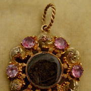 A Georgian 18ct Gold & Pink Topaz Amatory Pendant. Circa 1825.