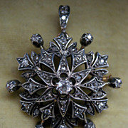 A Victorian 15ct Gold & Silver Diamond Set Pendant. Circa 1895.