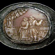 An Arts & Craft's Pewter Cameo Brooch. Circa 1905.