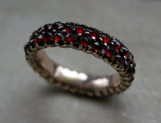 An Antique Bohemian Garnet Eternity Ring. Circa 1875.