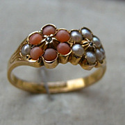 A Victorian 15ct Gold, Diamond, Coral & Seed Pearl Ring. Circa 1885.