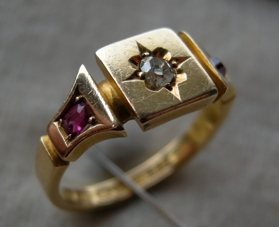 A Victorian 18ct Gold, Ruby & Diamond Ring. Circa 1876.