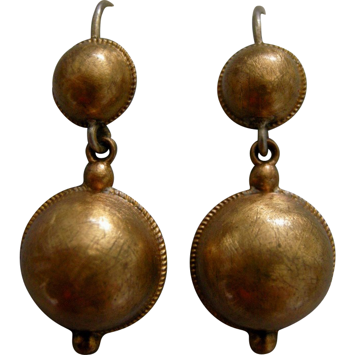 A Pair of Victorian Sterling Silver Gilt Earrings. Circa 1865.