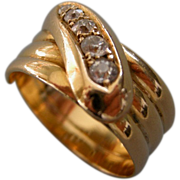 An Antique 18ct Gold & Diamond Snake Ring. Circa 1911