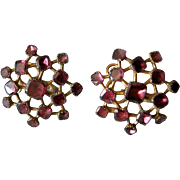 A Pair of Georgian Gilt-Metal and Garnet Earrings. Circa 1770.