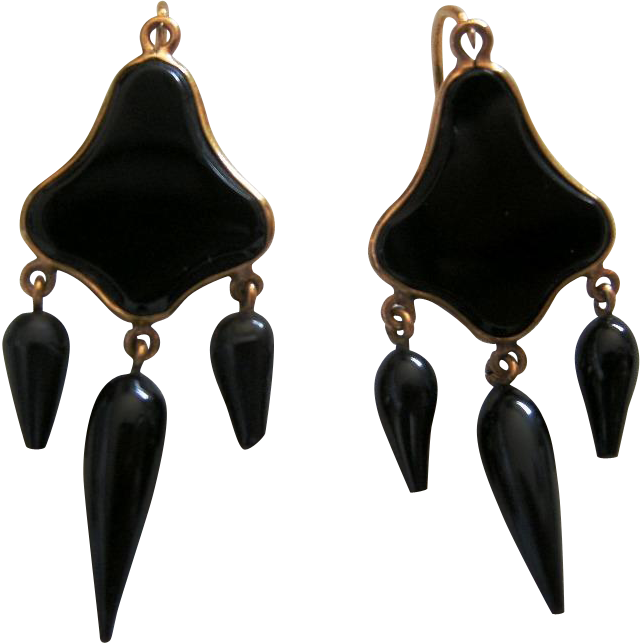 A Pair of French 18ct Gold and Black Glass Earrings. Circa 1875.