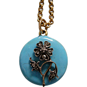 An Antique 15ct Gold and Enamel Forget Me Not Pendant. Circa 1836.