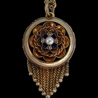 A Victorian 15ct Gold, Diamond & Pearl Pendant. Circa 1875.