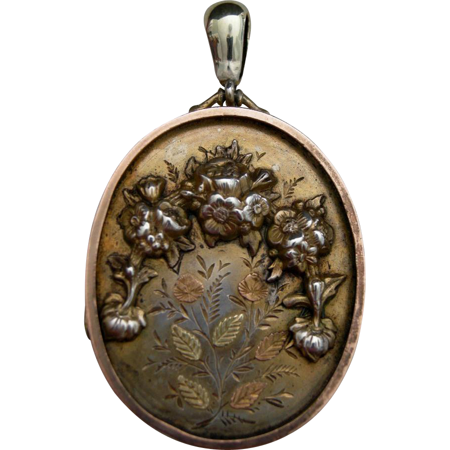 A Victorian Gilded Sterling Silver Locket. Circa 1880