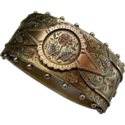 A Victorian Gilded Sterling Silver Hinged Bracelet. Circa 1887.