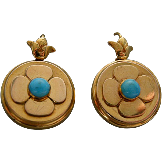 A Pair of Victorian 15ct Gold & Turquoise set Earrings. Circa 1855.