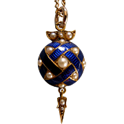A Victorian 15ct Gold, Enamel and Seed Pearl Pendant. Circa 1860.