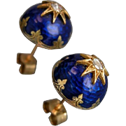 A Pair of Victorian Enamel and Diamond 9ct Gold Earrings. Circa 1860.