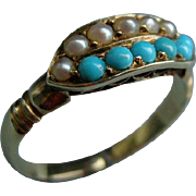 A Victorian 15ct Gold Turquoise and Seed Pearl Ring.