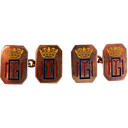 An Antique Pair of Royal Souvenir Enamelled  9 ct Gold Cufflinks. Circa 1914.