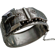 A Victorian Sterling Silver Hinged Buckle Bracelet. Circa 1884