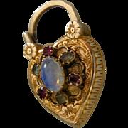 An Antique Heart Shaped 15 ct Gold Gem Set Locket Padlock. Circa 1830.