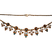 A Victorian 15 ct Gold, Turquoise and Seed Pearl Necklace. Circa 1890.