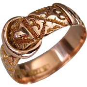 A Victorian 9 ct Gold Buckle Ring. Circa 1890