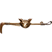 A Victorian 9 ct Gold Fox Head and Crop Stock Pin. Circa 1895.