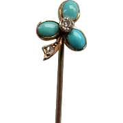 A Victorian 15 ct Gold, Turquoise and Diamond Stick Pin. Circa 1890