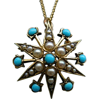 A Victorian 15 ct Gold Turquoise and Seed Pearl Pendant. Circa 1895