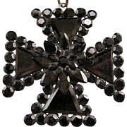 A Victorian French Jet Maltese Shape Cross. Circa 1875.