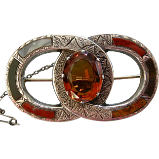 A Scottish Sterling Silver Pebble Brooch, Circa 1875