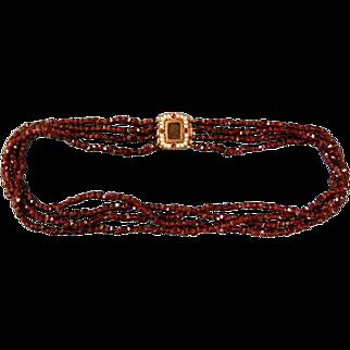 A Georgian Garnet and Seed Pearl Set Clasp. Circa 1820.