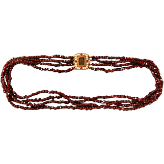 A Georgian Garnet and Seed Pearl Set Clasp. Circa 1820.
