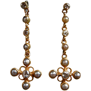 A Pair of Victorian 15 ct Gold, Diamond and Seed Pearl Earrings. Circa 1895