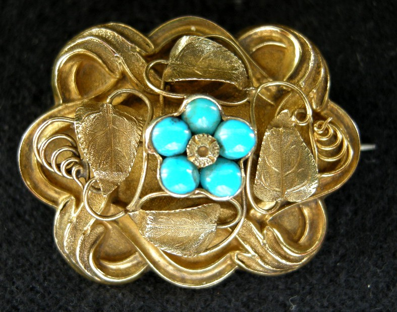 "An Early Victorian Gold & Turquoise ""Forget Me Not "" Brooch, Circa 1840."