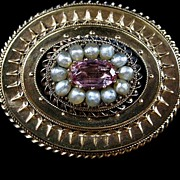 A Victorian 15ct Gold, Pink Topaz & Seed Pearl Brooch. Circa 1865.