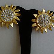 Matte Gold-Tone and Rhinestone Sunflower Earrings