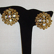 Gold-Tone and Clear Rhinestone Clip-On Earrings