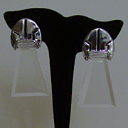 Silver-Tone and Lucite Dangle Clip-On Earrings