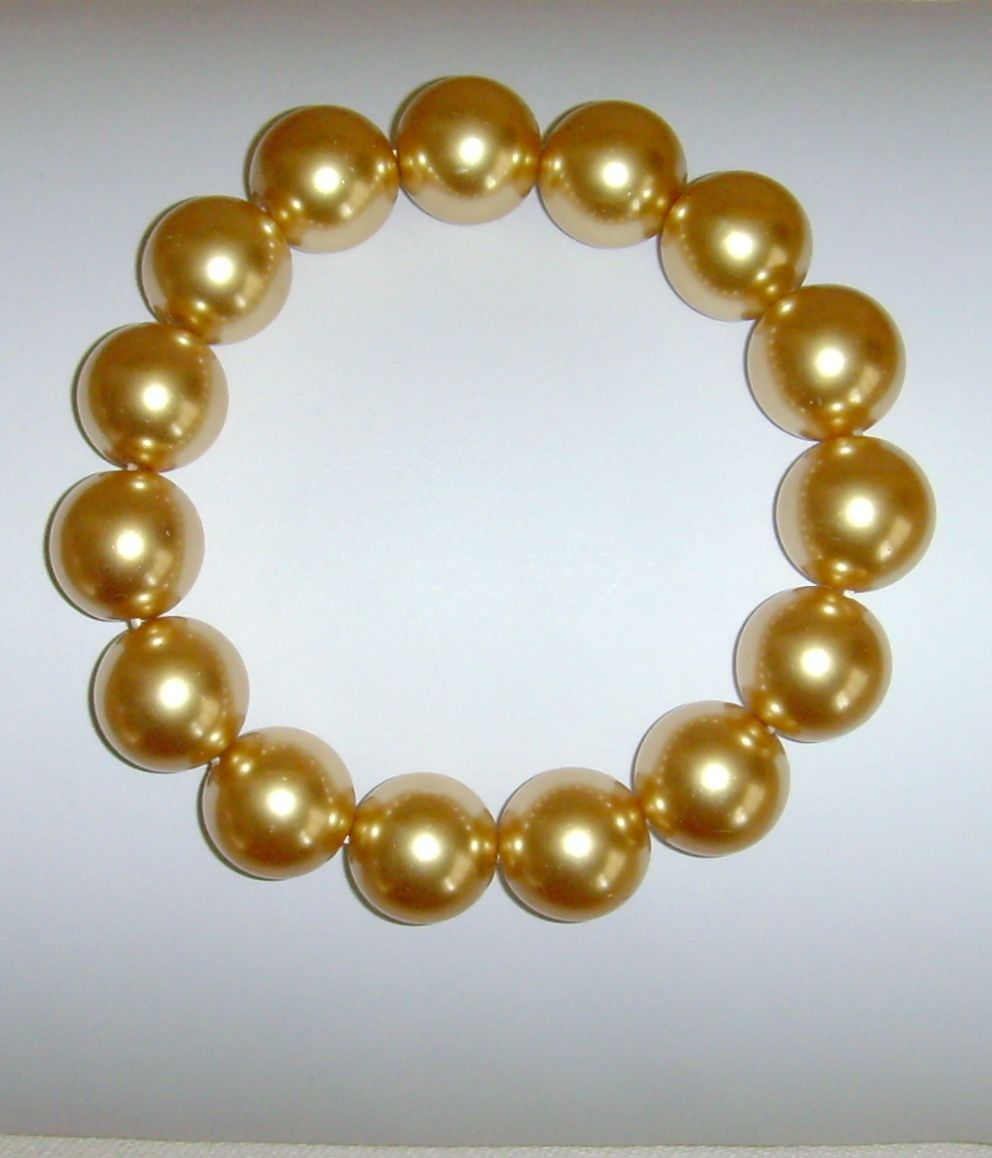 Simulated Gold-Tone Lustre  Pearl Slip-On Bracelet