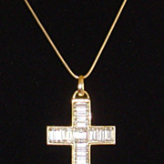 Gold-Tone and Baguette CZ Cross