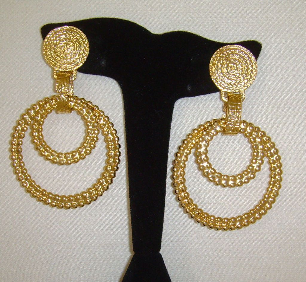 Gold Tone Double Ring Clip On Dangle Earrings From Simplyglamour