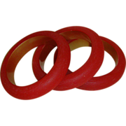 Lucite Red Bangle Style Bracelets (Set of 3)