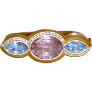 Monet Matte Gold-Tone  and Rhinestone Hinged Bracelet
