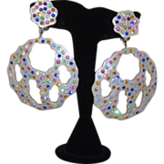 Celluloid and Multi-Colored Rhinestone Dangle Clip-On Earrings
