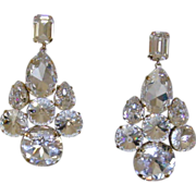 Gold-Tone and Rhinestone Runway Clip-On Earrings