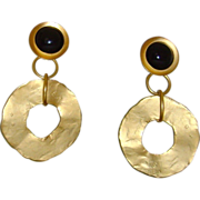 Norma Jean Matte Gold-Tone and Black Dangle Earrings