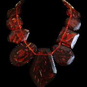 Lucite Translucent Red Bib Necklace
