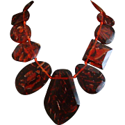 Lucite Translucent Red Bib Necklace
